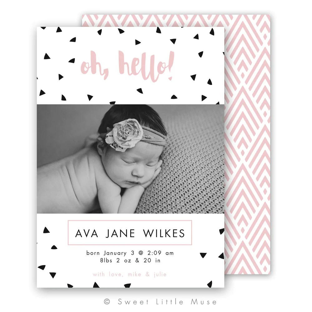 Modern Newborn Girl Birth Announcement Template