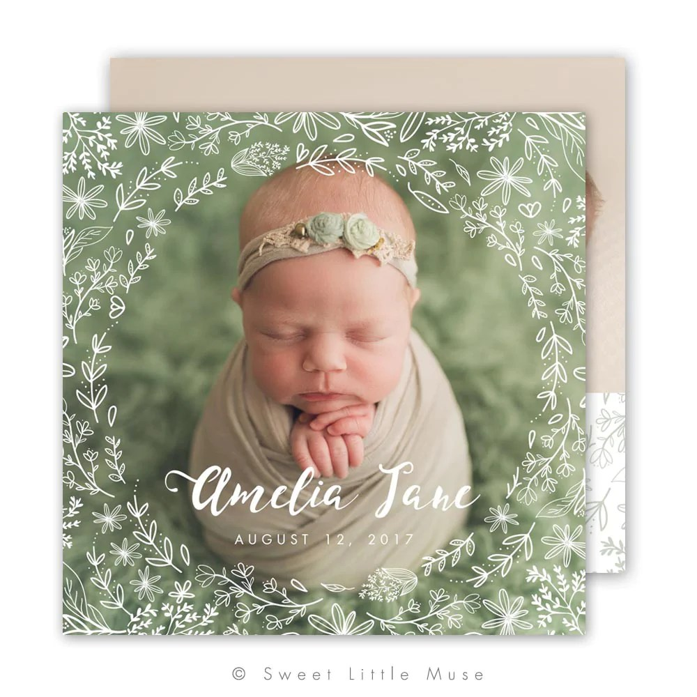 Hand Drawn Flora Birth Announcement Template