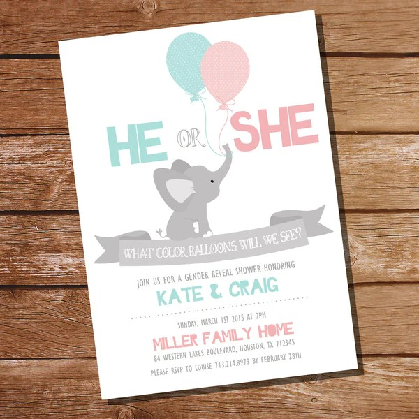 Download He Or She Elephant Gender Reveal Party Invitation ...