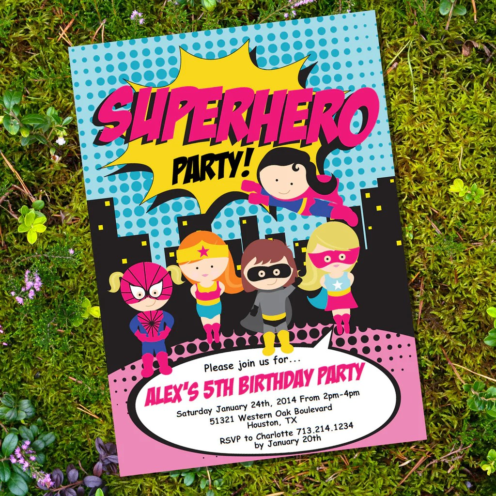 girl superhero party invitation
