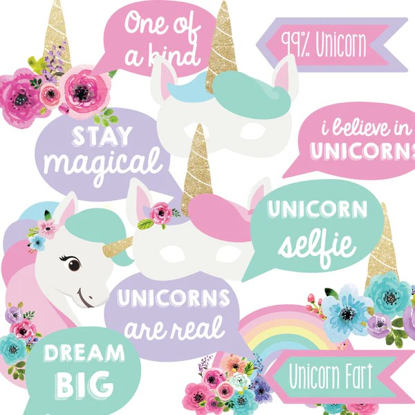 Unicorn Birthday Party Photo Booth Props Unicorn Party