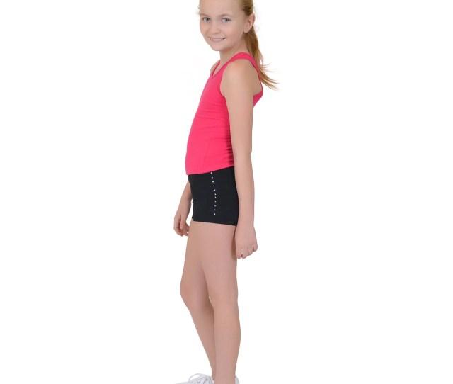 Girls Spandex Boy Cut Rhinestone Booty Shorts