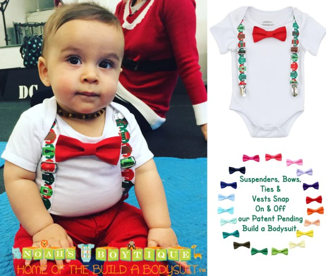 Ugly Sweater Party Christmas Outfit Baby Boy Suspenders Bow Tie Funny Christmas Santa