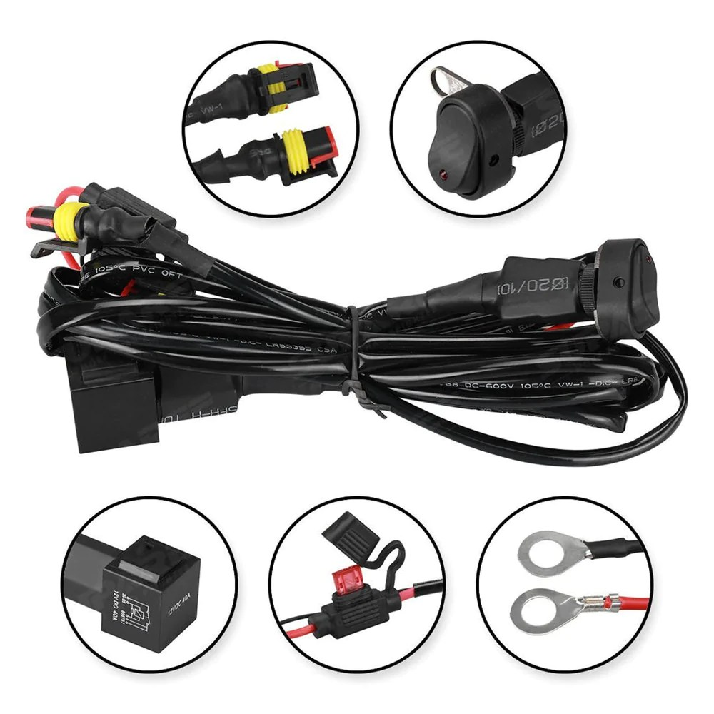 medium resolution of 40a 12v universal wiring harness switch on off for motorcycle auxiliar led factory mart