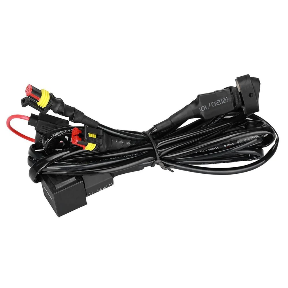 40a 12v universal wiring harness switch on off for motorcycle auxiliary fog light wires [ 1000 x 1000 Pixel ]