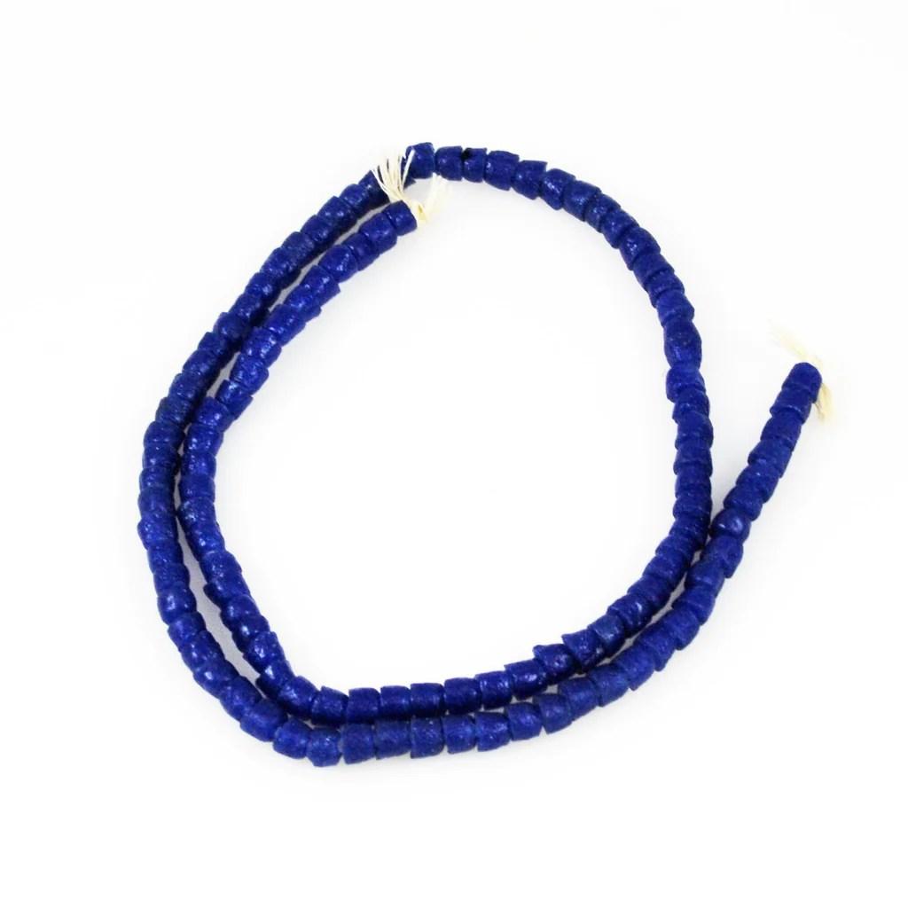navy blue tile glass trade bead strand