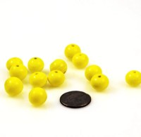 Yellow Lamp Work 10mm Glass Beads- (12)  Estatebeads