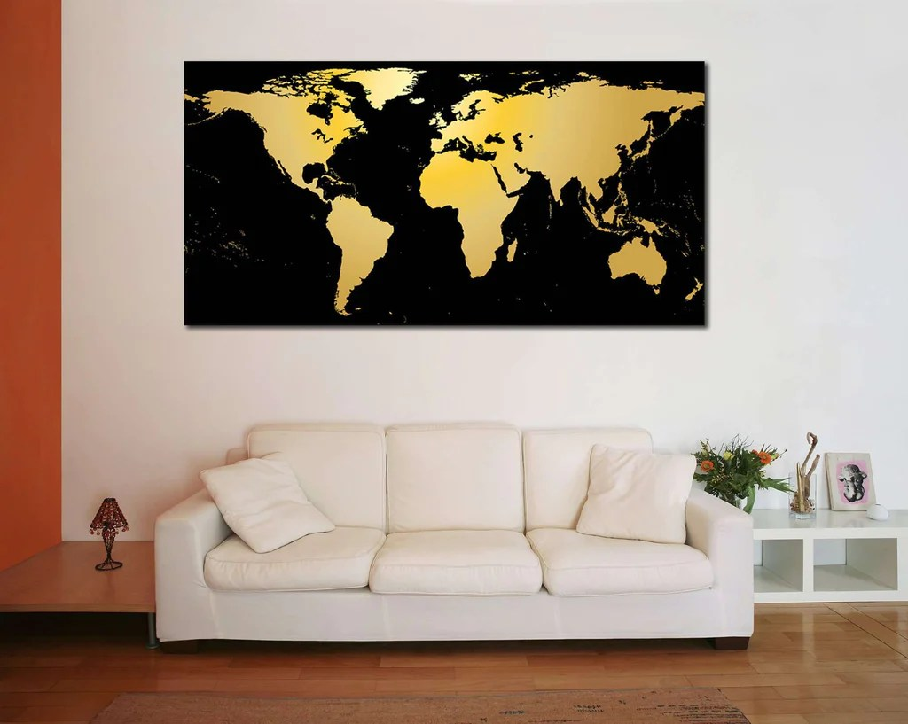 World Map Poster Black And Gold Imgurl