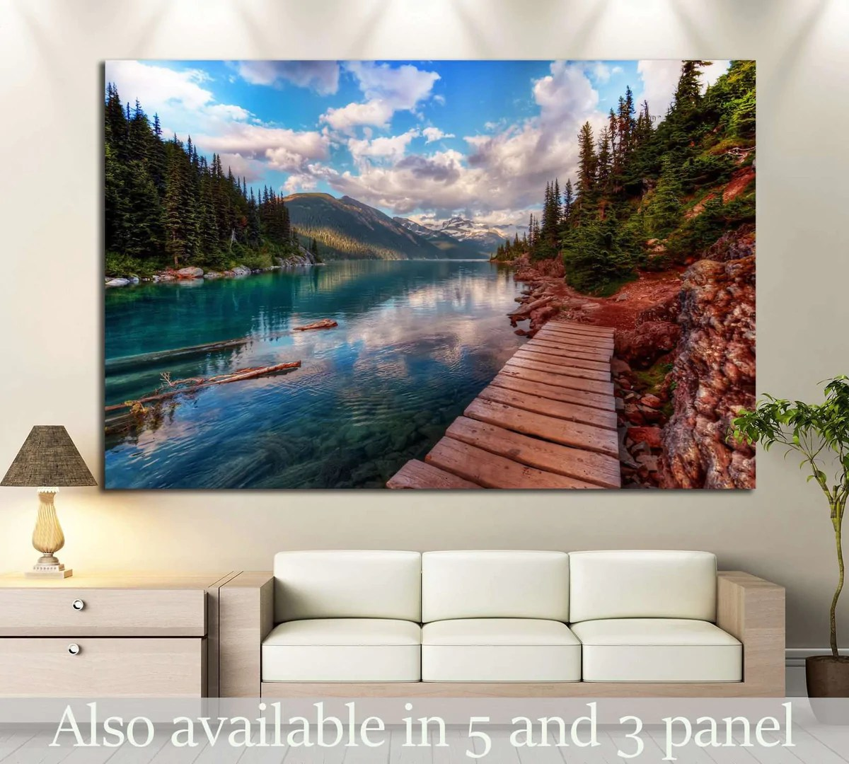 Mountain Lake And Evergreen Trees 649 Ready To Hang Canvas Print Zellart Canvas Prints