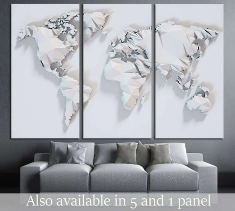 poly paper world map background d rendering ready to hang