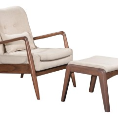 Tufted Chair And Ottoman Eames Metal Mesh Bully Lounge Set In Beige Fabric On Wood Frame Chairs