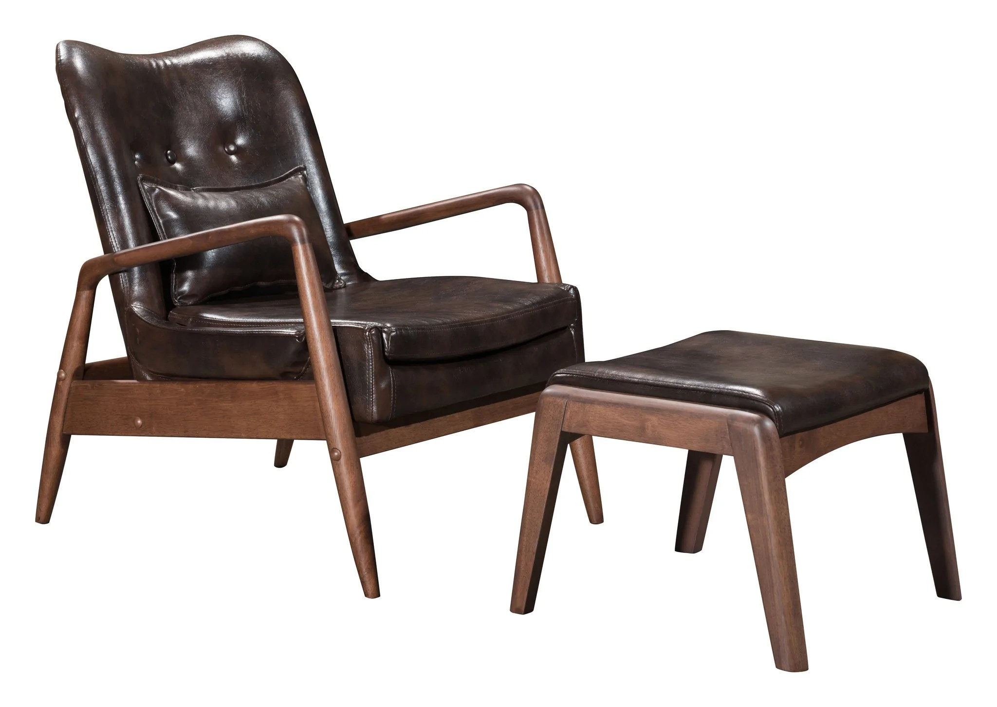 tufted chair and ottoman best toddler bully lounge set in brown leatherette on wood f frame chairs