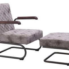 Steel Lounge Chair The Revolving Meaning In Hindi Father With Ottoman Vintage White Leatherette Distre Distressed Chairs