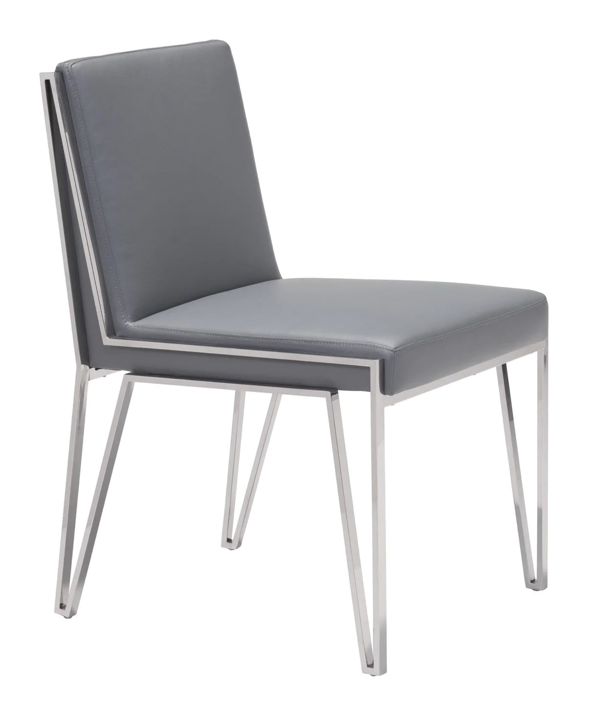 dining chairs with stainless steel legs cohesion gaming chair kylo in gray leatherette open set of 2