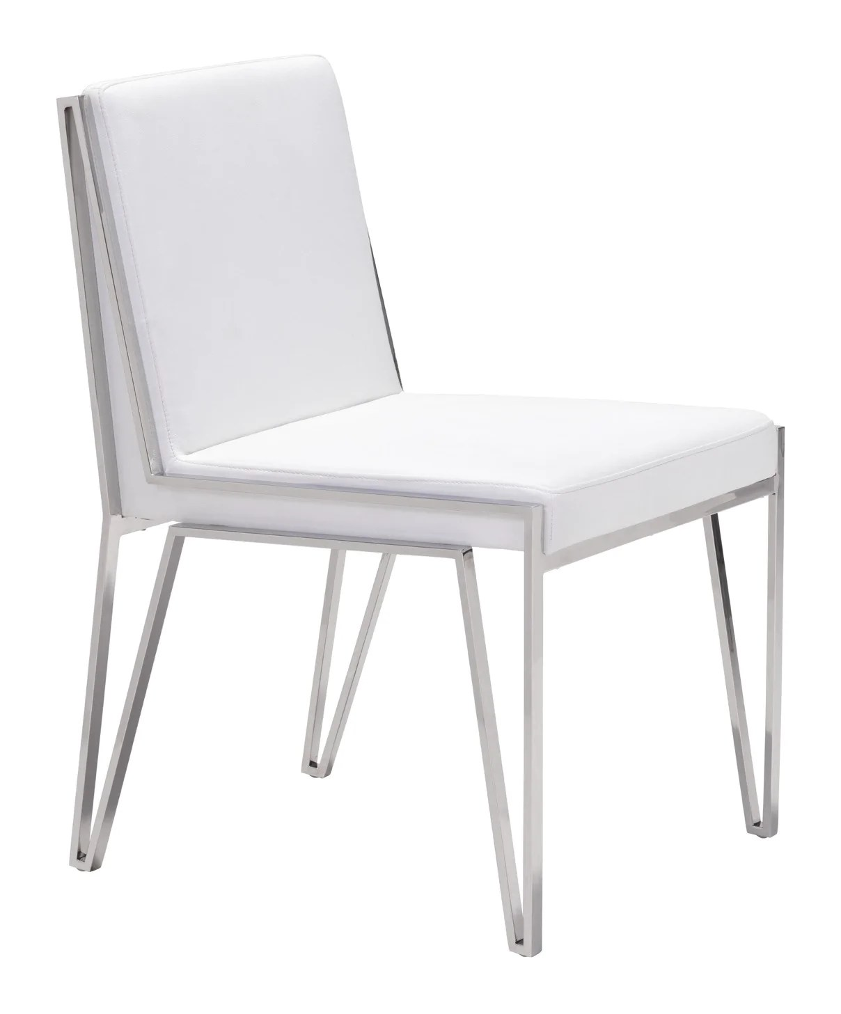 dining chairs with stainless steel legs sling chair fabric by the yard kylo in white leatherette open set of 2