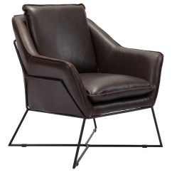 Steel Lounge Chair Zora Swivel Lincoln In Brown Leatherette On Frame Accent Chairs Alan Decor