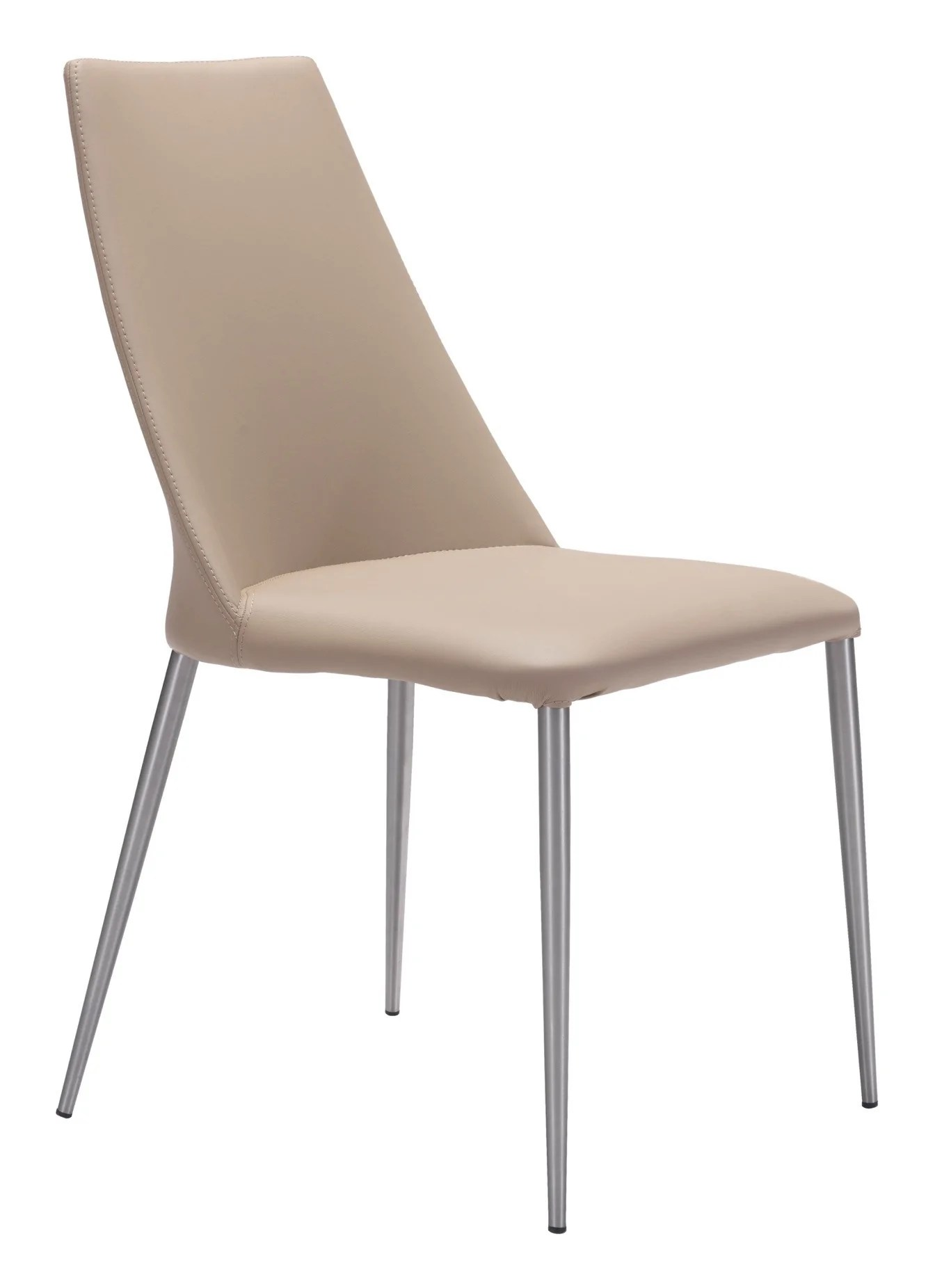 dining chairs with stainless steel legs electric chair heater whisp in beige leatherette on brushed leg set of 2