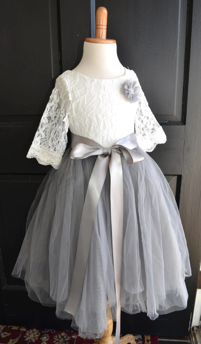 Girls Grey Long Tulle Skirt Lace Blouse Dress Maidenlaneboutique