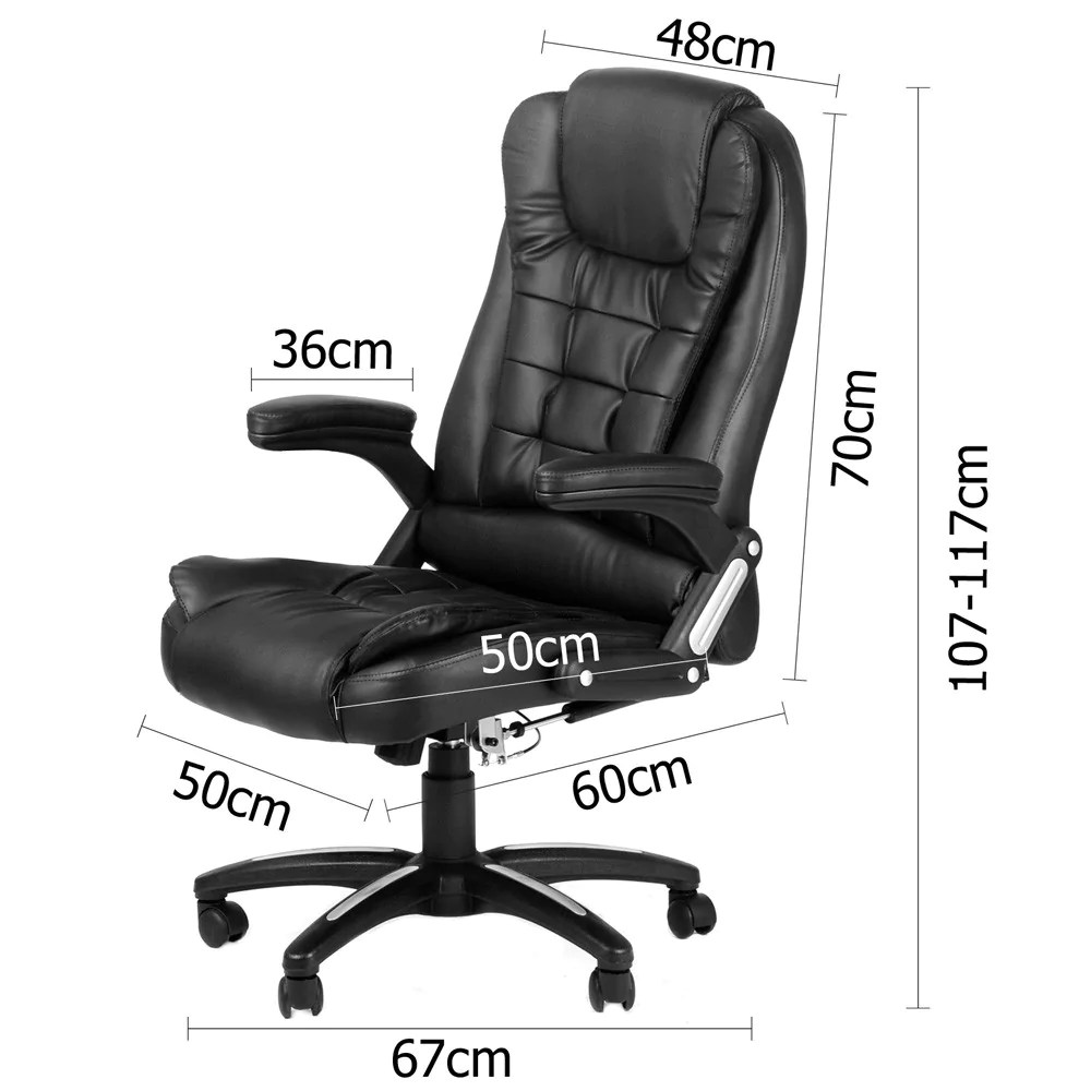 Massage Office Chair 8 Point Massage Executive Pu Leather Office Computer Chair Black