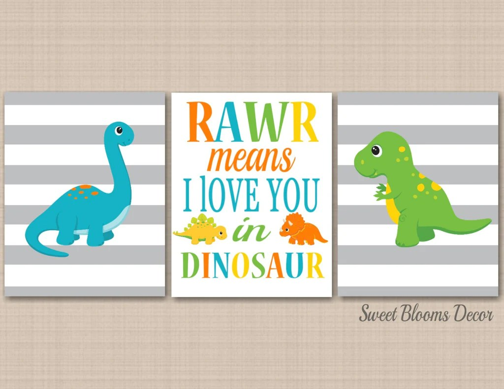 Dinosaurs Nursery Wall Art Dinosaur Kids Room Decor Rawr Roar Means I Sweet Blooms Decor