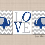 Elephants Nursery Wall Art Navy Blue Gray Chevron Gray Elephant Nurser Sweet Blooms Decor