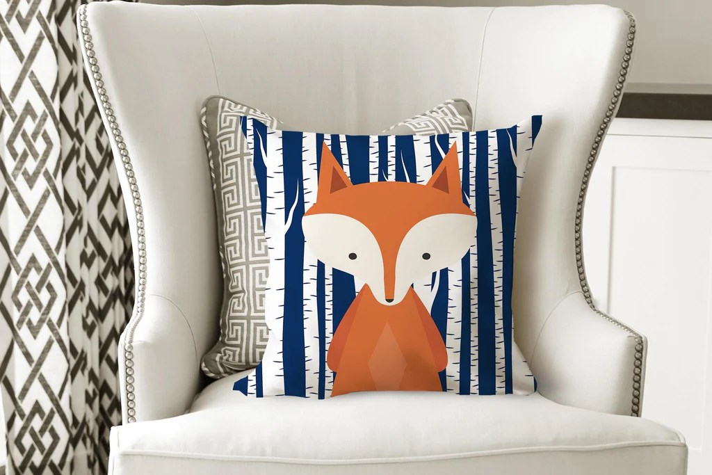 fox throw pillow navy orange fox pillow woodland bedroom decor fox nursery decor fox room decor fox navy birch fox nursery decor