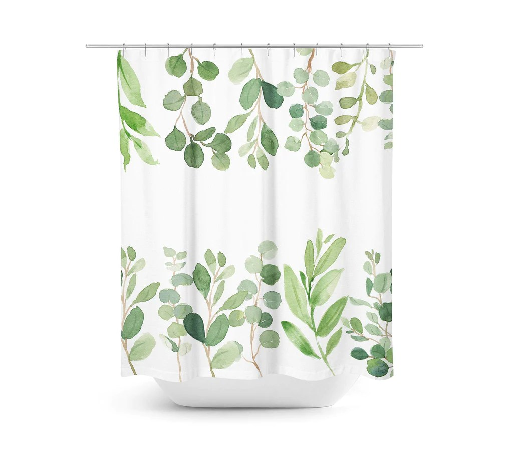 leaves eucalyptus shower curtain green tropical leaves botanical plants bathroom decor bath mat modern simple guest bathroom p123
