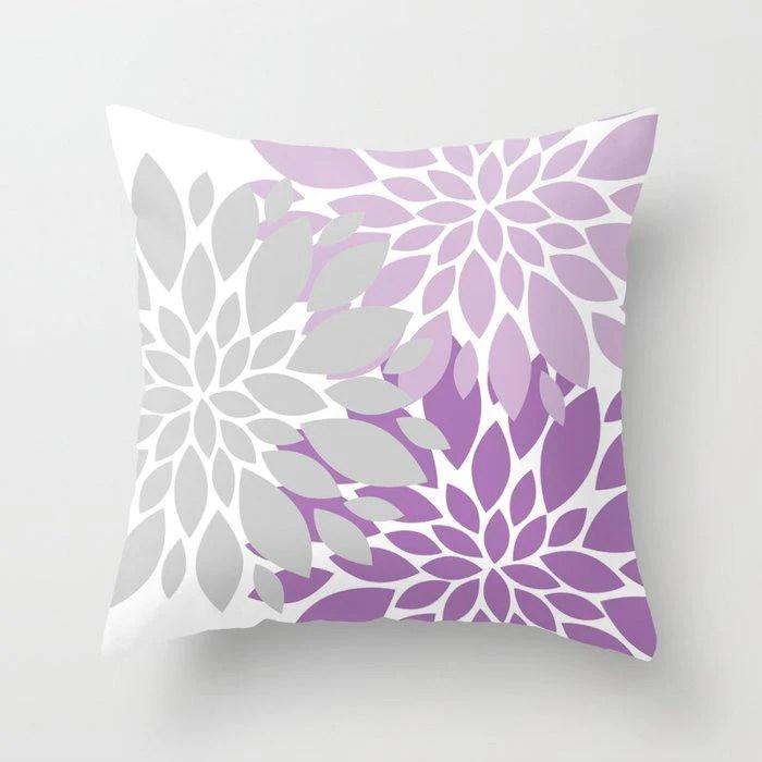 purple gray lavender floral throw pillow p253