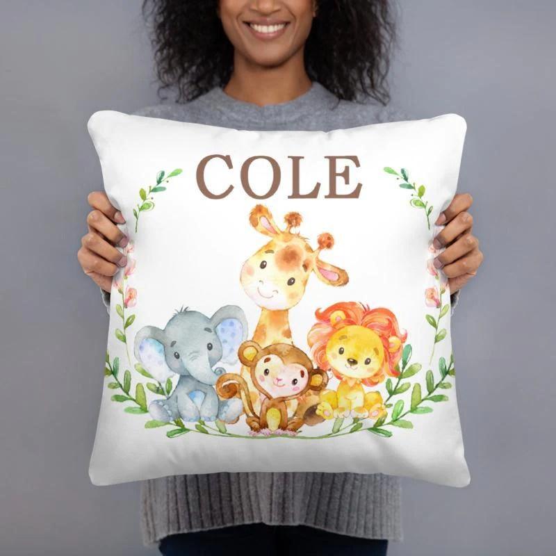 safari animals name pillow animals monogram baby shower gift baby bedding decor jungle elephant giraffe lion monkey 143