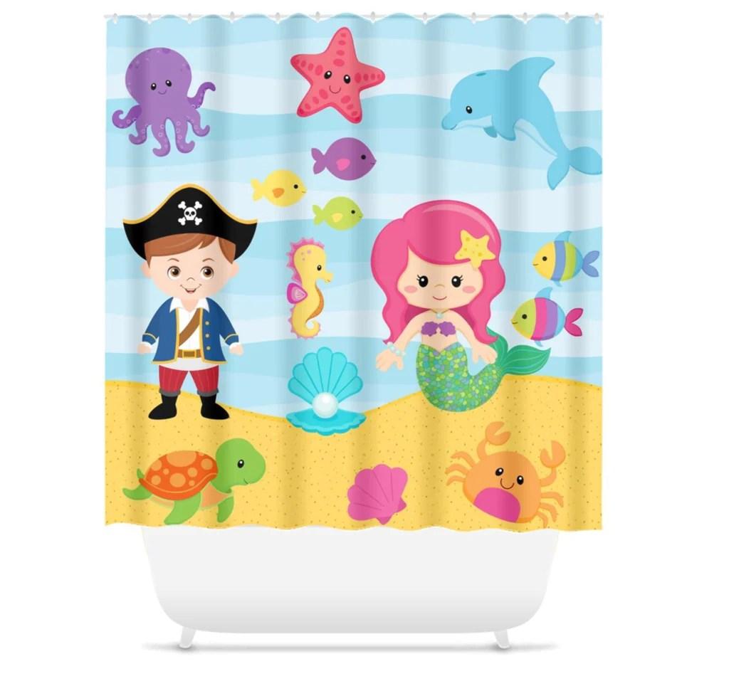 sea animals mermaid pirate shower curtain bath mat towel bath set s108