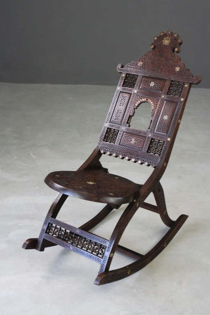 high back chairs uk only solid oak dining room moorish carved teak & inlaid rocking chair