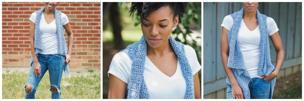 Denim Breeze Vest TL Yarn Crafts Crochet Pattern