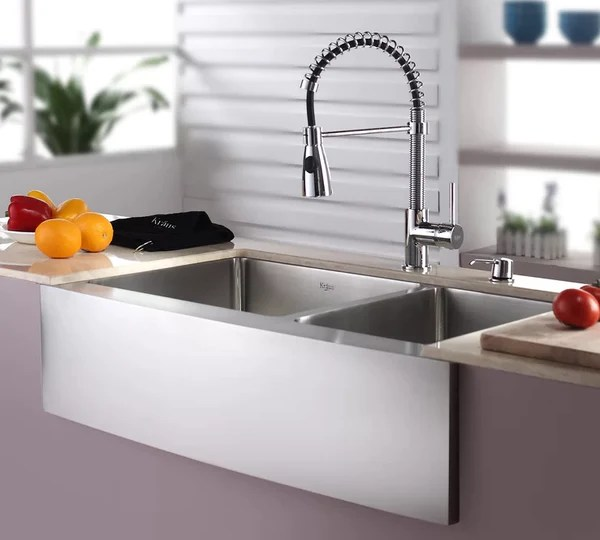 kraus kitchen sinks drop in stainless steel combos 33 l x 21 w double basin farmhouse sink with