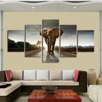 Elephant 5 Piece Canvass Wall Art  Flava Gear