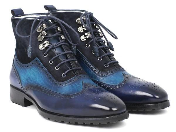 Paul Parkman Wingtip Boots Blue Suede  Leather ID971