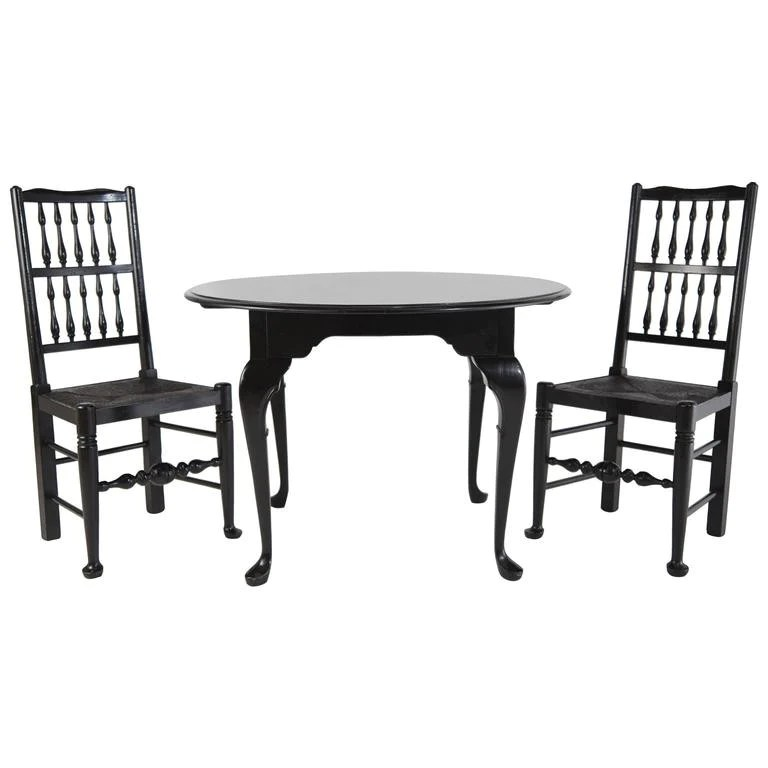 queen anne style chairs swing chair murah black lacquer colonial revival table