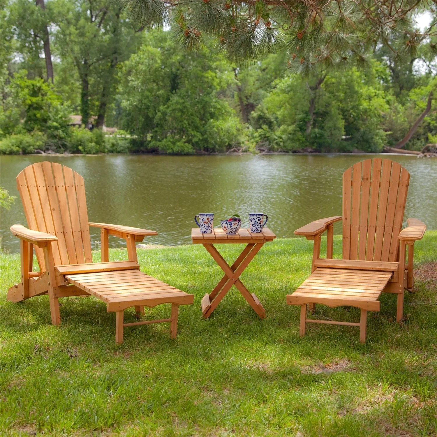 Adirondack Chair Set 3 Piece Patio Furniture Set With 2 Adirondack Chairs And Side Table