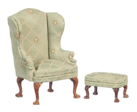 queen anne wing chair adams adirondack stacking white and ottoman soft green gold dollhouse