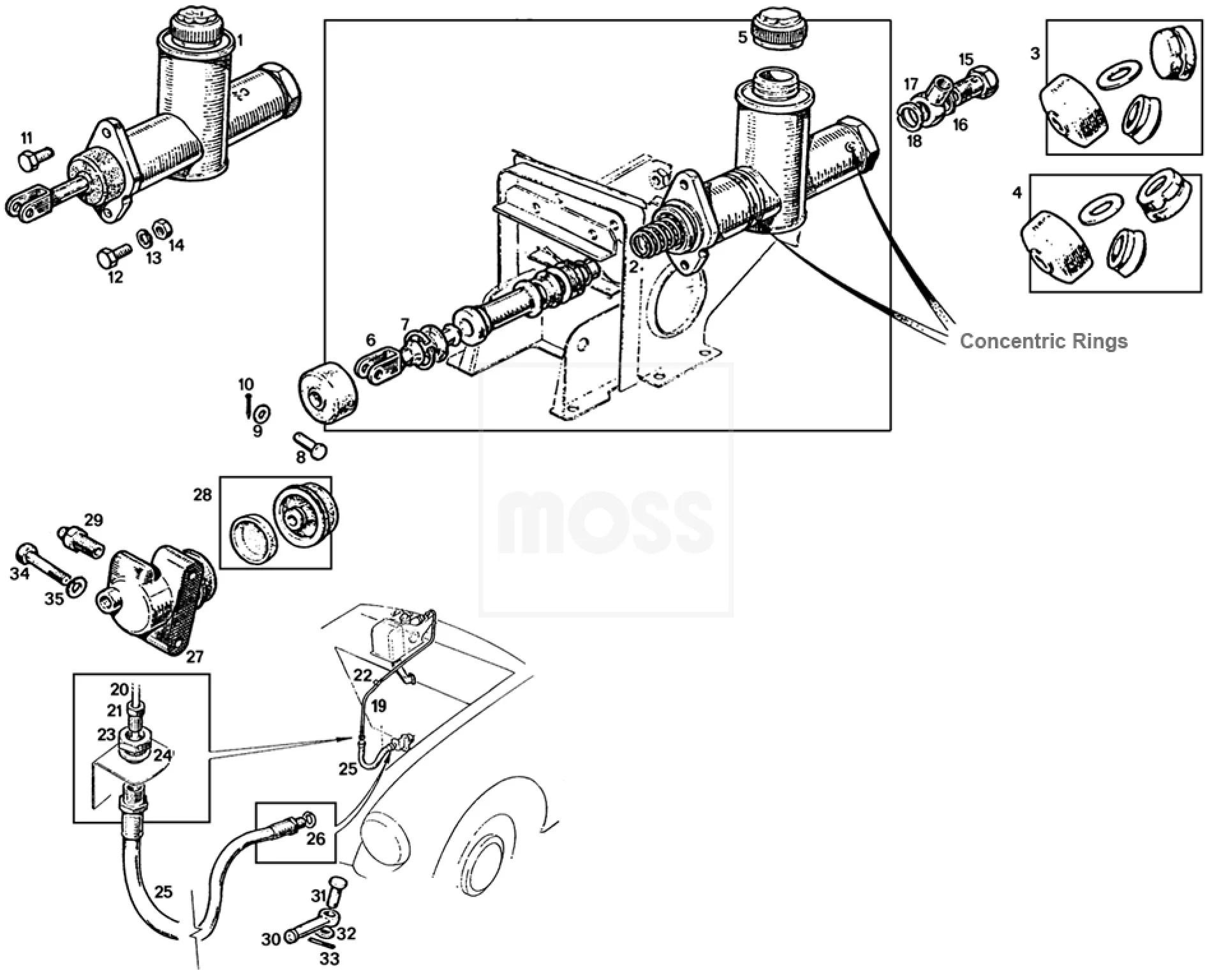 small resolution of mgb c v8 clutch gearbox axles clutch systems clutch hydraulics mgb