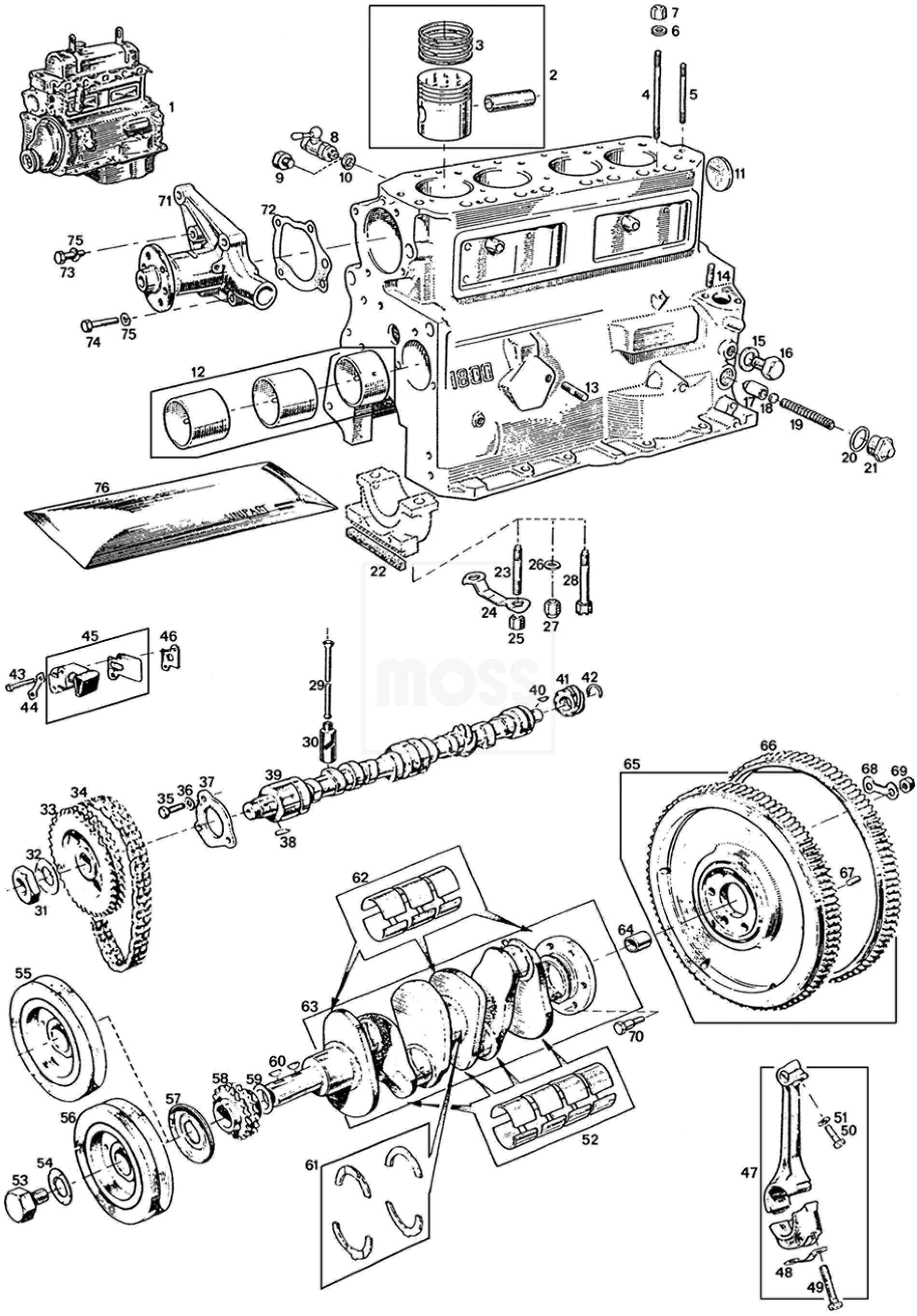 small resolution of mgb c v8 engine engines components external internal engine 3 main bearing 18g ga mgb