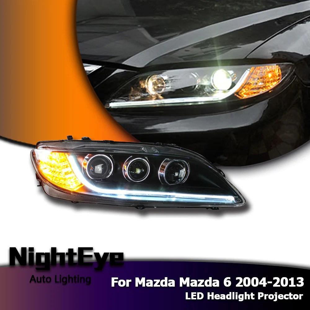 nighteye car styling for mazda 6 headlights 2004 2013 mazda6 led headlight universal type drl  [ 1000 x 1000 Pixel ]