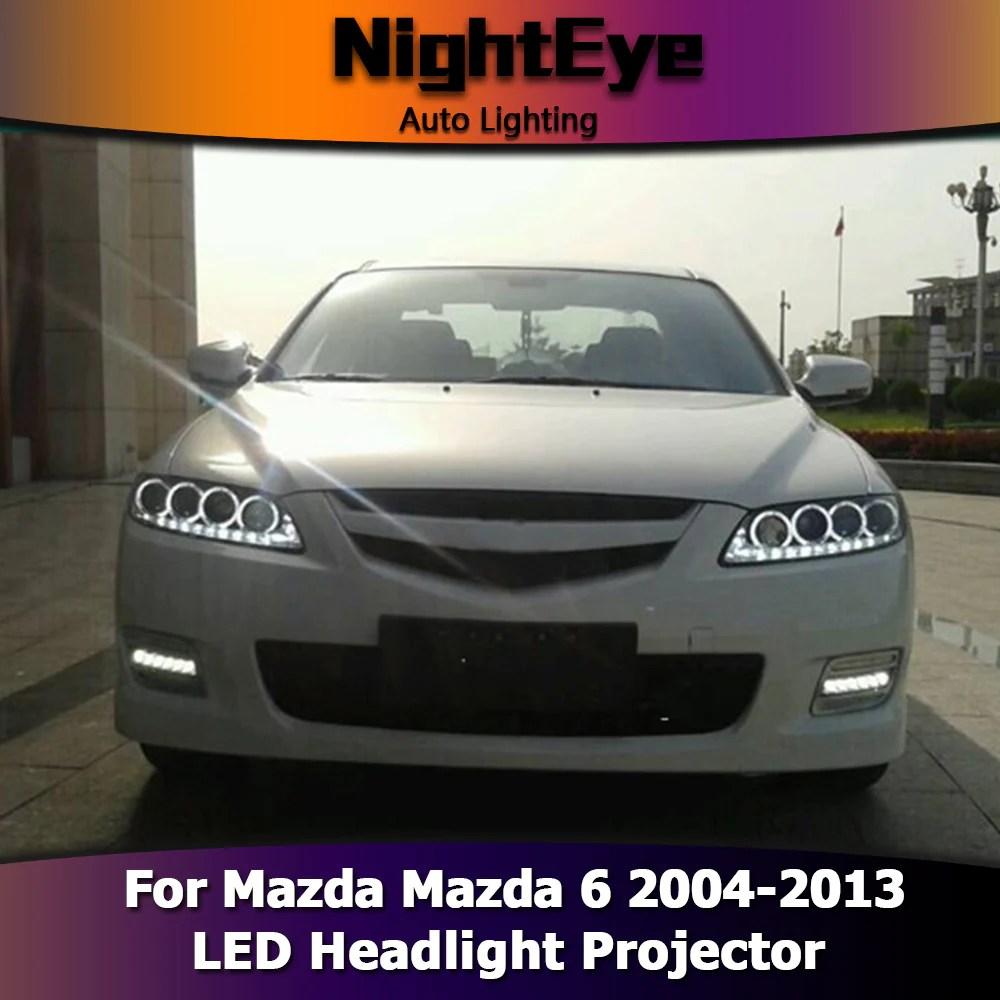 nighteye car styling for mazda 6 headlights 2004 2013 mazda6 led headlight angel eye drl  [ 1000 x 1000 Pixel ]