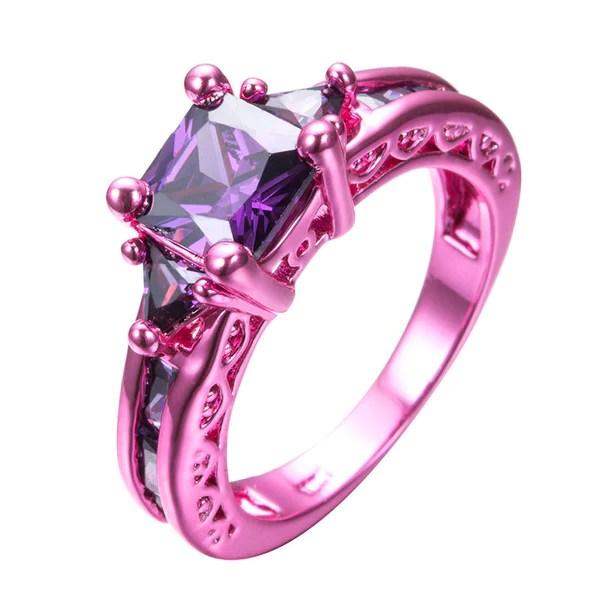Pink Gold Princess Cut Purple Zircon Ring  Slim Wallet