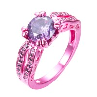 Pink Gold Purple Zircon Ring  Slim Wallet Company