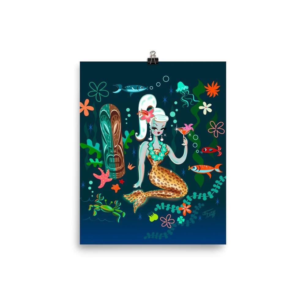 Blonde Leopard Martini Mermaid Art Print Fluff' Boutique