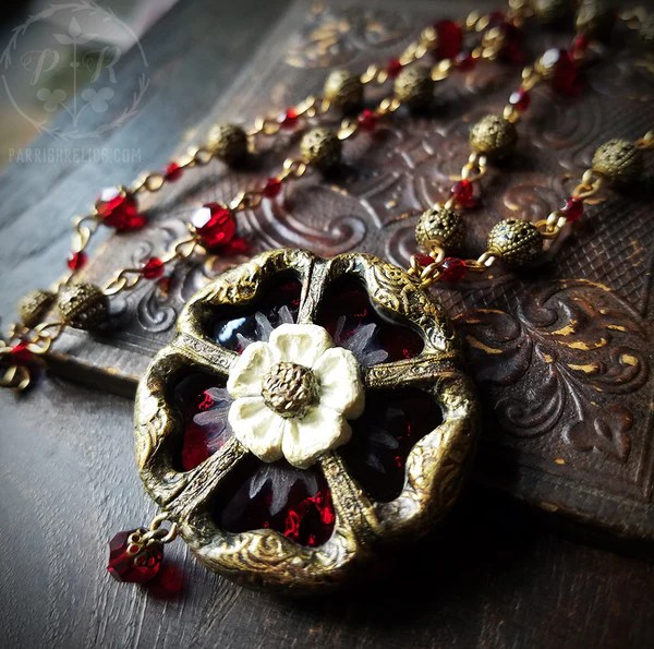 Etched Stained Glass Tudor Rose Amulet Necklace Parrish