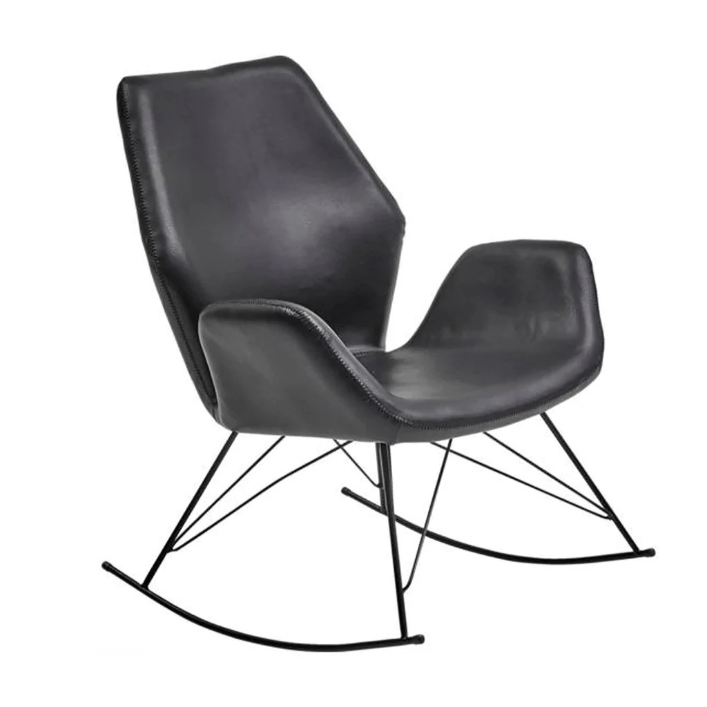 Accent Rocking Chairs Bryce Black Leather Accent Rocking Chair Roseland Furniture