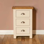 Padstow Cream 3 Drawer Bedside Oak Top Solid Wood Cup Handles Roseland Furniture
