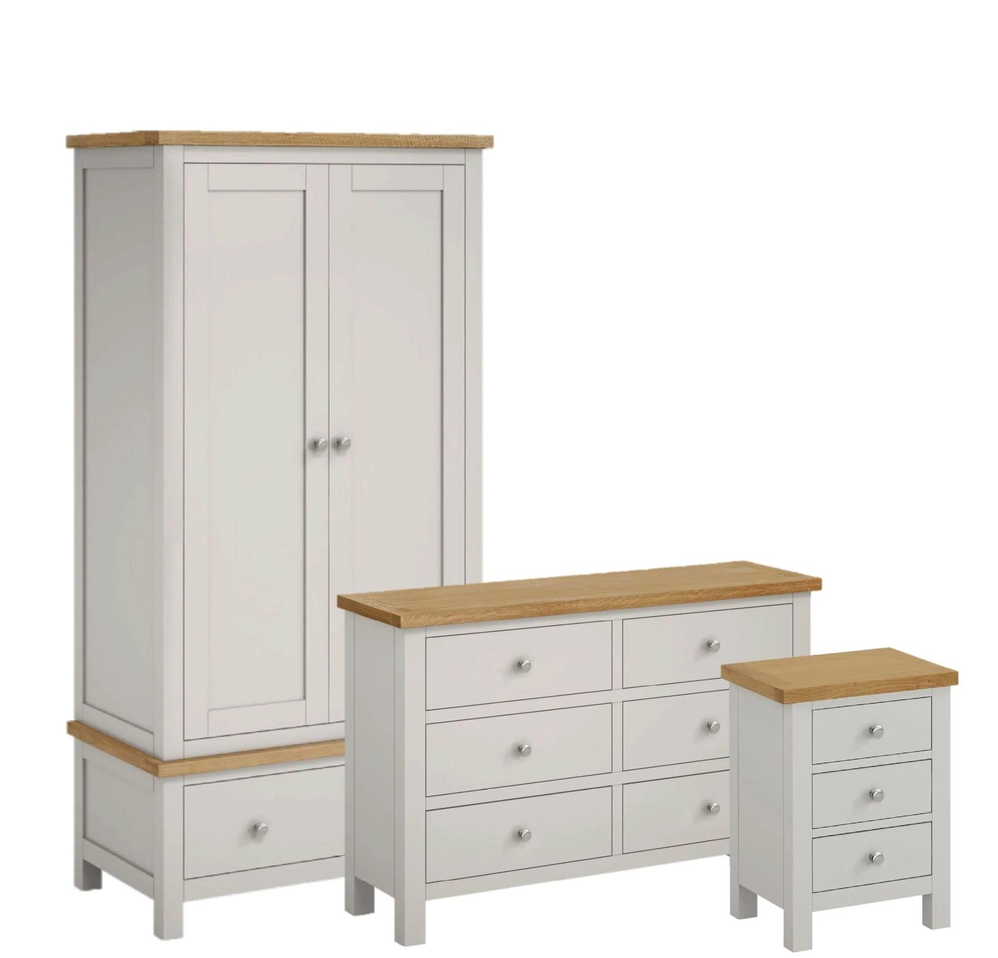 Farrow Grey Painted Bedroom Set Large Chest Wardrobe Bedside Oak Roseland Furniture