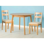 Nordic Solid Oak Small Round Dining Table Set 2 Chairs Light Oak Roseland Furniture